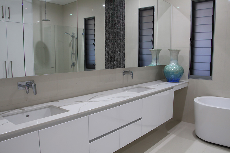 Double vanity cabinet, stone bench top Darwin