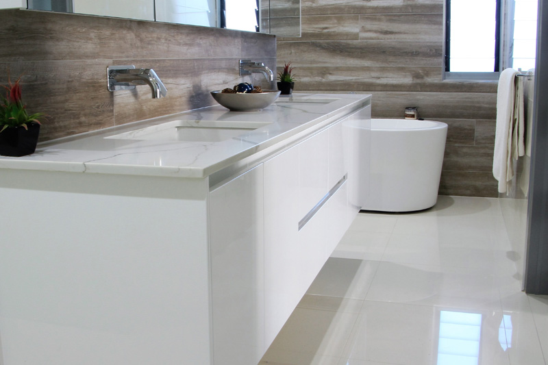 Wall mounted double vanity cabinet, no handles